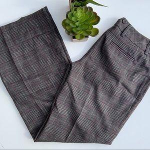 ANN TAYLOR Gray Pink Glen Plaid Wool Slacks Pants
